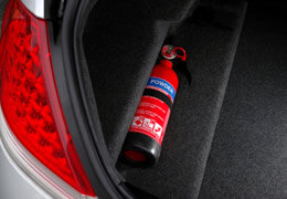 Small powder fire extinguishers for cars