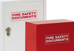 Metal fire safety document cabinets available in red and white, perfect for storing fire log books