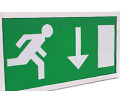 Emergency lighting including standard bulkheads, LED, self-test and slave luminaires.