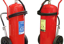 Wheeled fire extinguishers with CE mark, MED approval and manufactured to EN1866-1